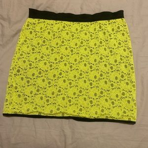 Neon Yellow and Black Mini Skirt